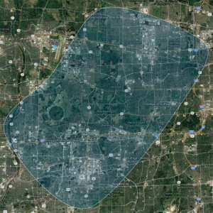 Image of map overlaid with coyote range visualization